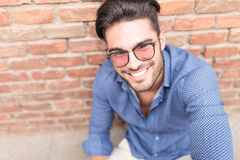Closeup picture of a  happy casual man with glasses Stock Images