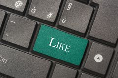 Closeup picture of like button of a modern keyboard. To mean a concept royalty free stock image