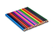Closeup picture of multi colour pencils on white Stock Photos