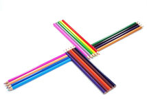 Closeup picture of multi colour pencils on white Stock Photo