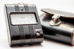 Closeup picture of an old resistance meter with leather case Stock Photo
