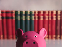 Closeup picture:  piggy bank in front of books Stock Images
