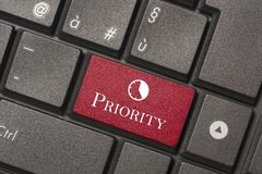 Closeup picture of Priority button of keyboard of a modern computer stock images