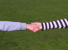 Closeup picture of shaking hands. Stock Image