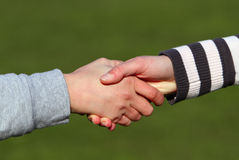 Closeup picture of shaking hands. Royalty Free Stock Photography