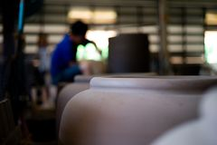 Closeup picture of traditional clay pottery in the factory stock photo
