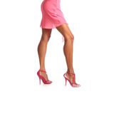 Closeup picture of woman in pink dress on high heels Royalty Free Stock Photos