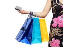 Closeup of picture of woman with shopping bags and credit card Stock Photo
