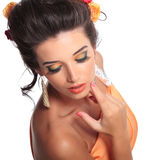 Closeup picture of a young beauty woman royalty free stock photos