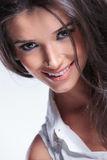 Closeup picture of a young beauty woman smiling Royalty Free Stock Photo