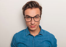 Closeup picture of a young man wearing glasses Stock Photo