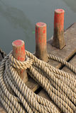 Coir rope on the wooden boat Royalty Free Stock Photos