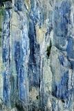 Mineral Kyanithe Distehn. Closeup of a piece of mineral, Kyanithe Distehn, blue needles with some other crystallized material royalty free stock photos