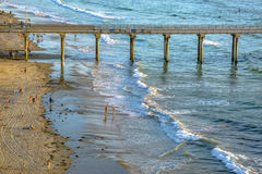 Closeup of the Pier and shoreline near the Scripps Institute Stock Photography