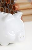 Closeup piggy bank with coin rolls Royalty Free Stock Photo