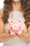 Closeup on piggy bank in hand of young woman Stock Photos