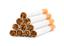 Closeup of a pile of cigarettes Royalty Free Stock Photography