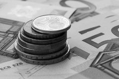 European coins and banknotes Royalty Free Stock Photography