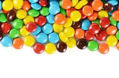 Closeup of pile colorful chocolate candies
