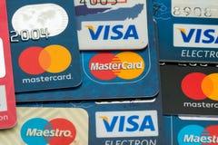 Closeup pile of credit cards, Visa and MasterCard, credit, debit and electronic. Sarajevo, Bosnia and Herzegovina - March 04, 2018: closeup pile of credit cards stock photography