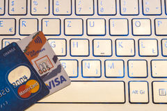 Closeup pile of credit cards, Visa payWawe and MasterCard Royalty Free Stock Photos
