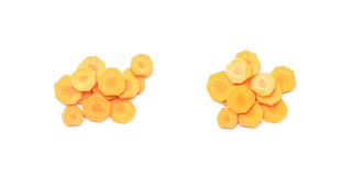 Closeup pile of fresh cut carrot isolated on white background , prepare for cook concept with clipping path Stock Image