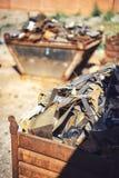 Closeup pile of scrap metal junk garbage Stock Images