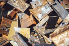 Closeup pile of scrap metal junk garbage Royalty Free Stock Photos