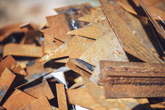 Closeup pile of scrap metal junk garbage Stock Image
