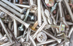 Closeup pile of screw for wood Royalty Free Stock Image