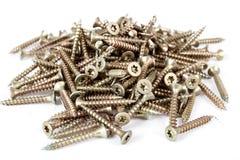 Closeup pile of screw on white Royalty Free Stock Photos