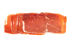 Closeup of a pile of spanish serrano ham Stock Photos