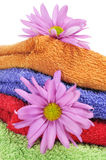 Towels and flowers Stock Image