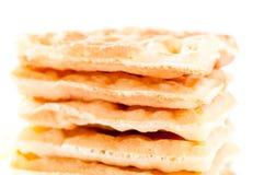 Closeup of pile of waffles. On white background Stock Image