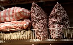 Closeup of pillows on sale in a department store. Closeup of pillows on sale in a deparment store stock photo