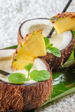 Closeup of pinacolada in a coconut Royalty Free Stock Images