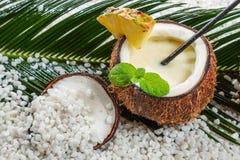 Closeup of pinacolada in a coconut Stock Photo