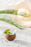 Closeup of pinacolada in coconut in sunny day Stock Photography