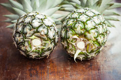 Closeup of pineapple on wooden Royalty Free Stock Image