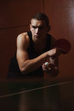 Closeup ping pong, table tennis player, Royalty Free Stock Image