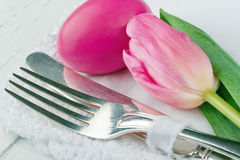 Closeup of pink easter dinner setting Stock Image
