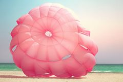 Paraglider. Closeup of a pink paraglider Stock Images