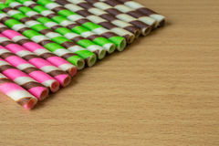 Closeup pink stripe wafer rolls. Stock Photography