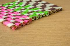 Closeup pink stripe wafer rolls Stock Images