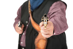 Closeup of pistol aimed at camera Stock Photo