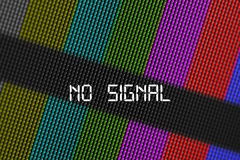 Closeup pixels of LCD TV screen with color bars and message no signal is a television test pattern stock image