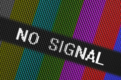 Closeup pixels of LCD TV screen with color bars and message no signal is a television test pattern Stock Photography