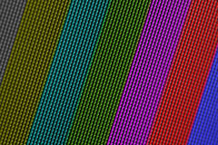 Closeup pixels of LCD TV screen with color bars is a television test pattern Royalty Free Stock Photo