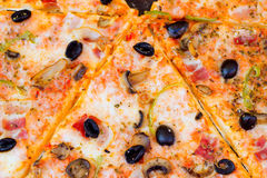 Closeup of pizza with olives tomato cheese Royalty Free Stock Photo