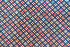 Closeup plaid fabric White blue red for background Stock Photography